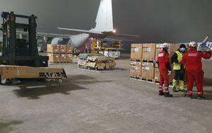 """Coronavirus, letti e """"respiratori"""" a Bergamo da Germania su C130J Aeronautica Militare Italiana"""